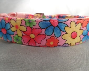 Rainbow Flowers Pink Dog Collar
