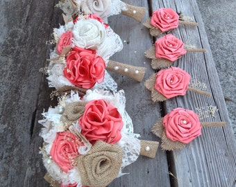 """Beautiful coral silk and natural burlap bouquets (listing is for one bridal bouquet, click on """"item description"""" for the rest of my prices)"""