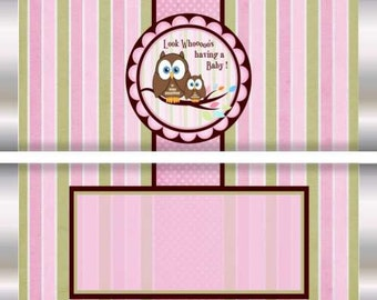 Various Owl Designs, Baby Shower,  Baby Girl Candy Wrappers,