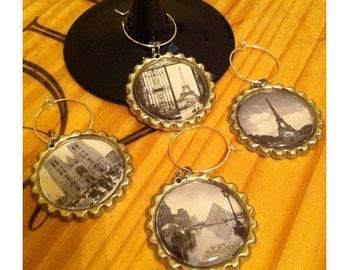 Scenes from Paris Wine Glass Charms