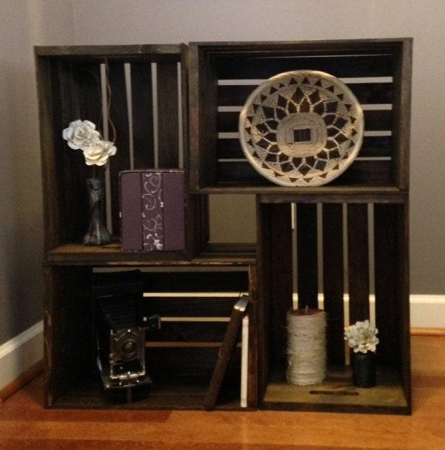 wooden crate bookshelf. Black Bedroom Furniture Sets. Home Design Ideas