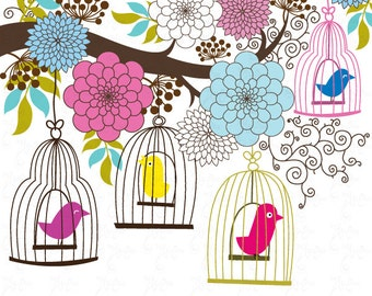 Wedding Clipart Design,Flowers,Flora clipart, Birdcages clipart,Love,wedding invitaion Wd001 Personal and Commercial Use.