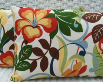 Set of 2 - Indoor / Outdoor Rectangle / Lumbar Pillows - White, Brown, Red, Blue Green Tropical Floral