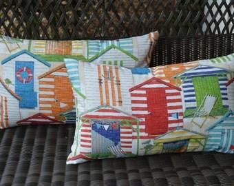 Set of 2 Throw Pillows -  Beach Hut Red Green Orange Yellow Blue White Coastal Rectangle / Lumbar Indoor / Outdoor Pillows