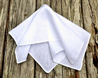 Hand Rolled Hem Pocket Square, White Linen Handkerchief, Irish Linen Handkerchief, White Pocket Square, Formal Pocket Square, Formal Hankie