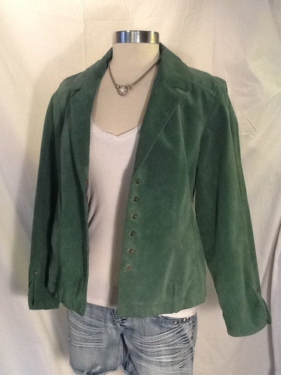 Vintage ladies green suede leather jacket Live a Little size medium