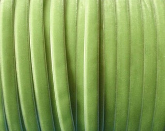 10 yards 3/8 inches Velvet Ribbon in Lt apple green  RY38-56