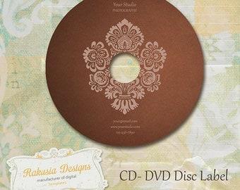 CD DVD Label Template, brown, damask, vol.10