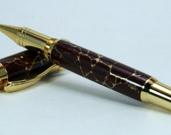 Hand Turned Pen: Red Gold Web Tru-Stone