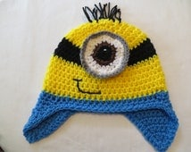 DISPICABLE ME CROCHET Hat w/EarFlaps* MiNioN Crochet Hat * One/Eyed MinioN * InFant to ADuLT