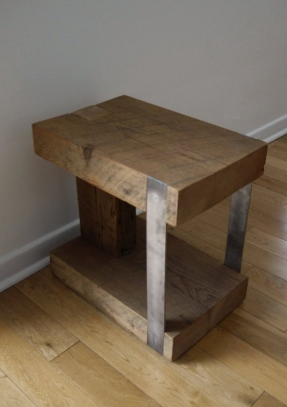 Night Stand Reclaimed Wood And Metal Bedside Table Modern