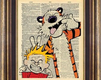 Calvin and Hobbes Print #3 Vintage Dictionary Page Up Cycled