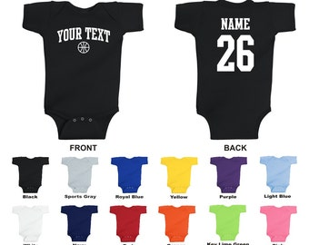 Personalized custom your text and number basketball baby one piece romper, you choose the text for the front and back, ARCHED TEXT
