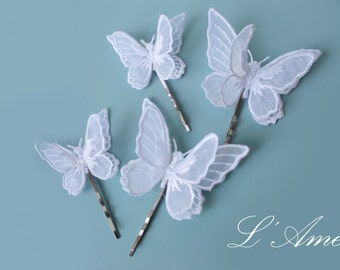 White Lace Butterfly Hair Pin Accessory Great for Wedding, Bridal Piece or Everyday Use.
