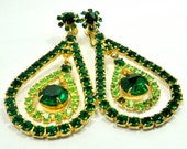 Vintage Green Dangle Earrings / Combo Clip / Screw Back