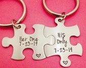 Couples Custom Puzzle Piece key Chain Set Hers and His Her One His Only anniversary gift for Him Personalized