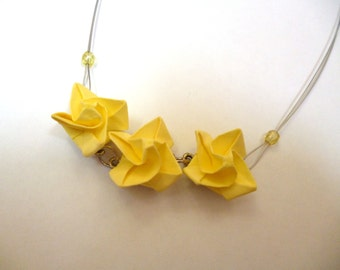 Canary Yellow Paper Rose Necklace
