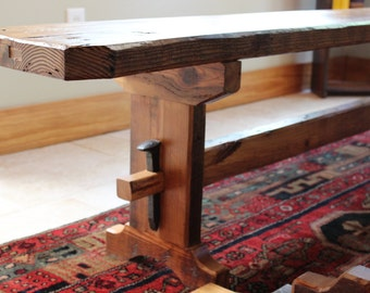 Trestle Dining Bench Reclaimed Barnwood