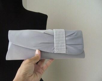 Silver clutch sateen/Bridal clutch gray