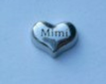 Mimi - Silver Heart ML1014  Floating Charm for Memory Glass Locket