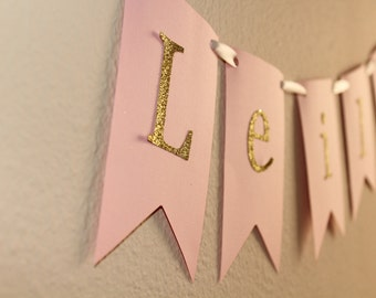 Pink and Gold name banner- Baby shower, little girl room