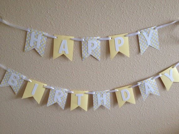 yellow grey and white happy birthday banner by prettylilparty