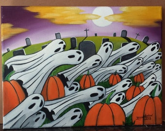 Ghosts in the Patch. 9x12. Oil on canvas.Unframed.Halloween Painting. Ghost Painting. Pumpkin Painting. Holiday Painting.