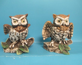 Set of Vintage Homco Owl Figurines porcelain.