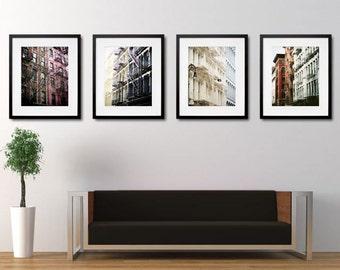 Set Of 4 SoHo New York Buildings - New York Architecture - New York City Art - Urban Decor - New York Photograph -  Building Fire Escape