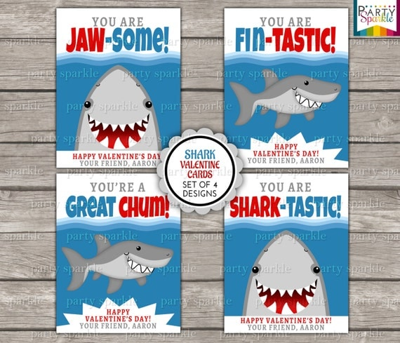 valentines day card shark - Valentines Day Printable Cards Shark Kids Personalized