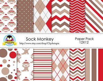 SOCK MONKEY Digital Paper Pack, red sock monkey paper digital, Red and Brown digital paper 12x12 instant download