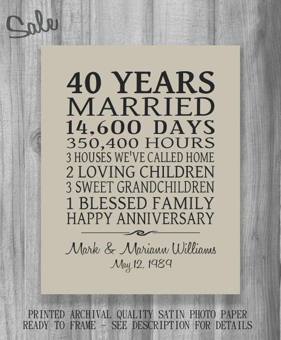 40 Wedding Anniversary Gift For Husband : Anniversary Gift Parents Personalized Print Poster Family Marriage ...