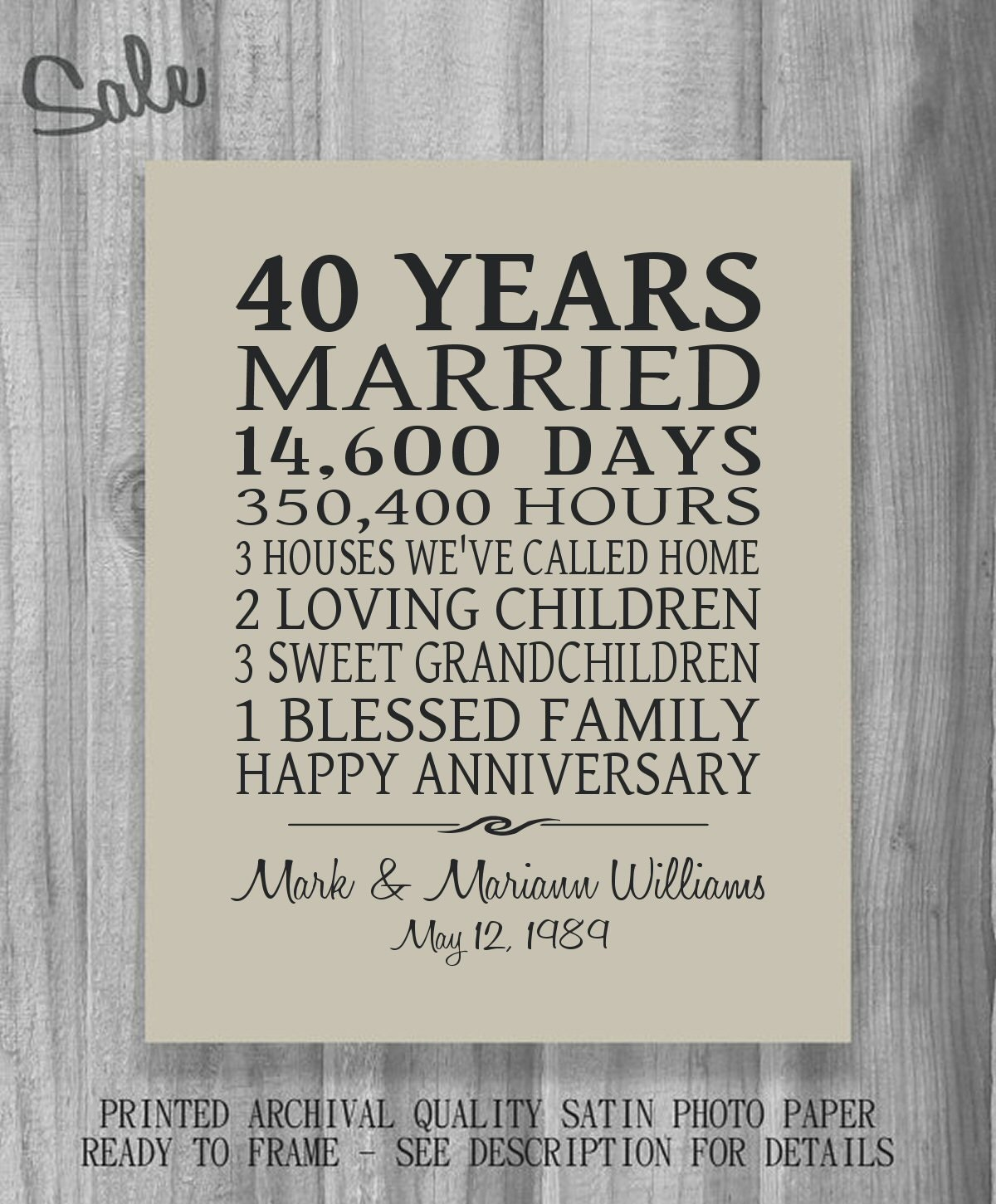 Gift For Wedding Anniversary Of Parents: SALE Anniversary Gift Parents Personalized Print Poster Family