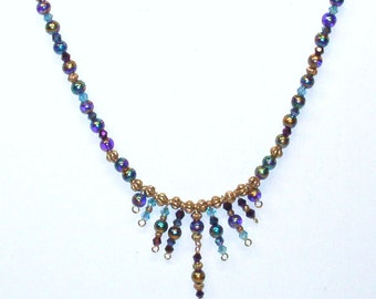 Handmade Beaded Necklace in Purples, Blues and Gold