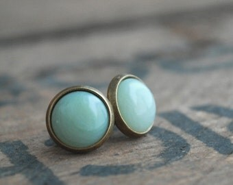 Jade green tiny cabochon earstuds antique bronze tone