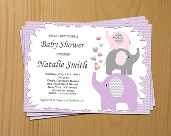 Baby Shower Invitation Girl Baby Shower Invitation Elephant Baby Shower Invitation Baby Girl Shower Invitation (04) - Free Thank You Card