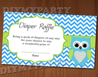 Owl Baby Shower Diaper Raffle Ticket Diaper Raffle Cards Diapers Raffles Baby Shower Games Printable Digital Files diy printable party decor
