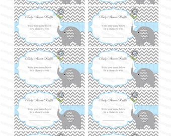 Elephant Baby Shower Boy Baby Shower Diaper Raffle Ticket Diaper Raffle  Card Diapers Raffles Printable Digital