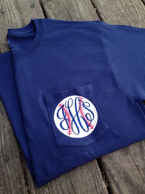 Personalized Monogrammed Baseball Appliqu D Pocket T Shirts