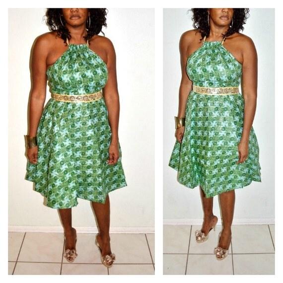 ankara robe robe africaine party dress vert et or halter. Black Bedroom Furniture Sets. Home Design Ideas