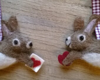 Handmade needle felted rabbit, scented heart hanging decoration, valentine hanging ornament, Bertie Bunny