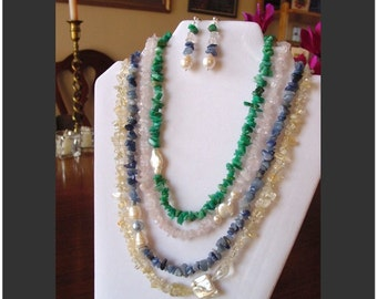 Multi-Strand Blue/Green Aventurine, Rose Quartz, Citrine and Pearl Necklace and Earring Set