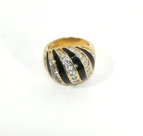 enamel and rhinestone gold dome ring 18k hge gold by