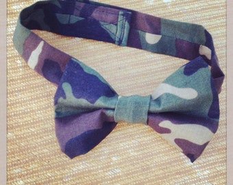 Camo bow tie, newborn to 10 yrs