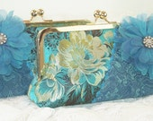 Turquoise  Bridesmaid Clutch / Vintage Kimono / Japanese Kimono / Wedding Party Gift