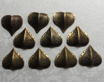 """Vintage gold plate brass stamped & etched leaves,5/8th""""x5/8th"""",10pcs-KC162G"""