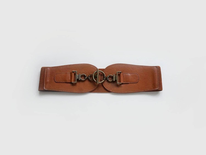 vintage womens brown elastic belt wide waist belt in brown