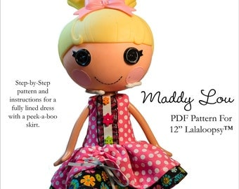 Pixie Faire Aha Customs Maddy Lou Dress Doll Clothes Pattern for Lalaloopsy Dolls - PDF