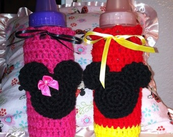 Minnie or Mickey Mouse Baby Bottle Cover Cozy Baby Shower Gift- Made to Order - Crocheted