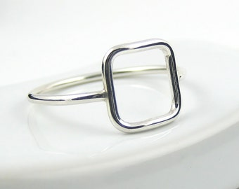 Sterling Silver Square Ring, Sterling Silver Ring, Skinny Ring, Open Square Ring, Slim Ring, Modern Ring